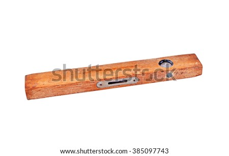 Old wooden construction level, isolated on white background  - stock photo