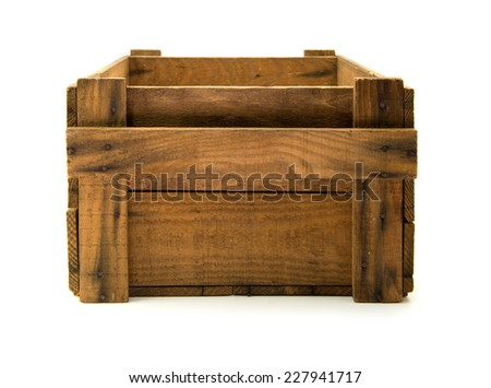 Old wooden crate isolated on white. - stock photo
