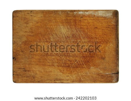 Old wooden cutting board isolated on white  - stock photo