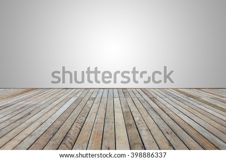 Old wooden decking or flooring isolated on blank grey space for design - stock photo