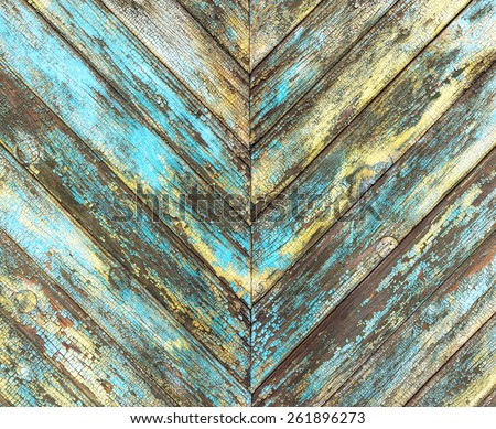 old wooden diagonal multi-colored wall - stock photo