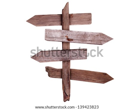 old wooden direction signs - stock photo
