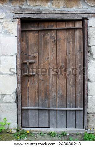 Old wooden door, background - stock photo
