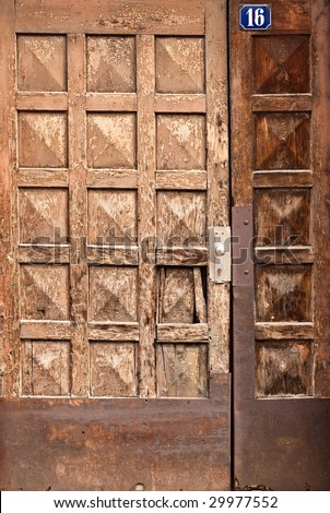 Old wooden door in an old German town - stock photo