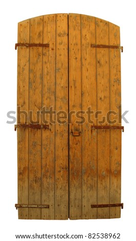 Old wooden door isolated on white background - stock photo