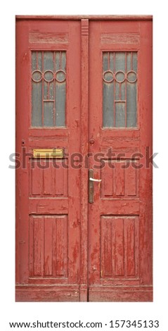 Old wooden door on white background - stock photo