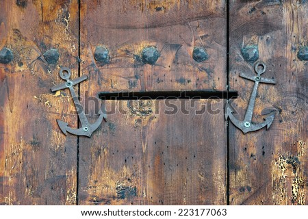 Old Wooden Door with Mail Slot. Background and Texture for text or image. - stock photo