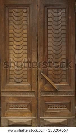 Old wooden doors - stock photo