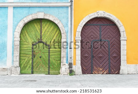 Old wooden doors at Buda palace in Budapest, Hungary. - stock photo