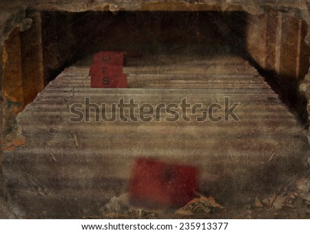 Old wooden dusty archive drawer with files - stock photo