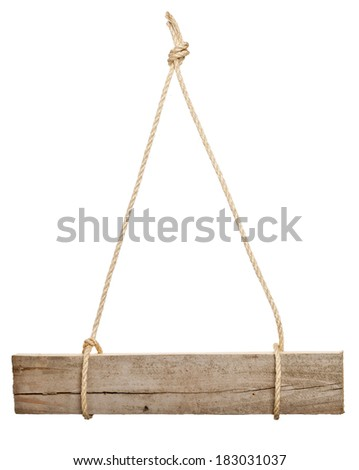 Old wooden empty sign board hanging on ropes isolated on white background - stock photo