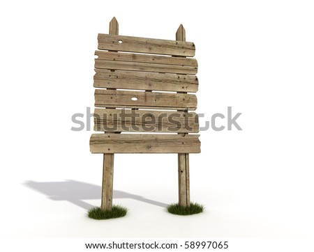 Old wooden empty sign post on white background - rendering - stock photo