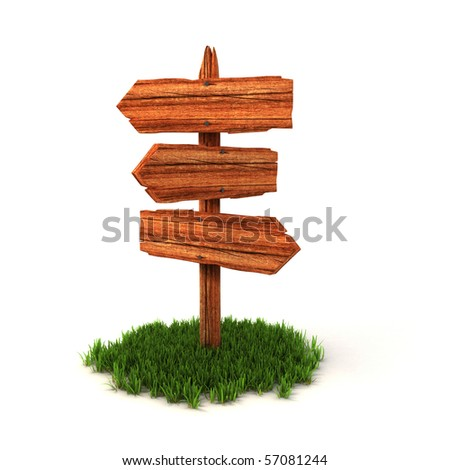 old wooden empty signpost on grass isolated on white background - stock photo