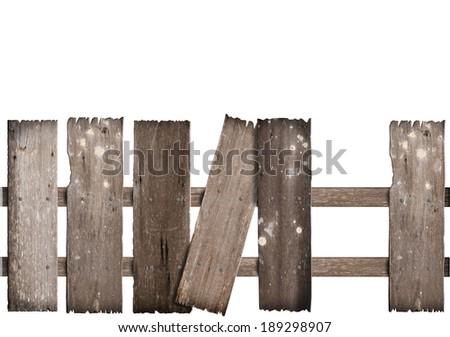 old wooden fence damaged on white background. - stock photo