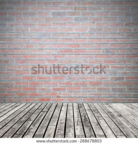 old wooden floor on brick wall grung background - stock photo