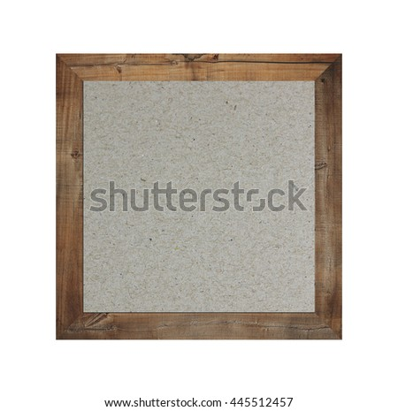 Old wooden frame isolated and have brown paper background on white Backdrop. - stock photo