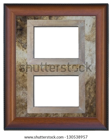 Old wooden frame isolated on a background texture of old leather. - stock photo