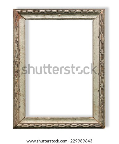 old wooden frame isolated on white background - stock photo