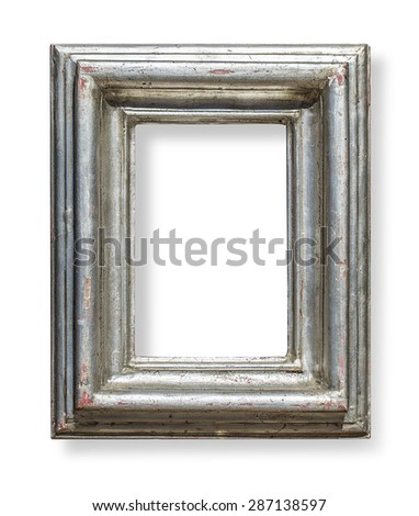 old wooden frame isolated on white background with clipping path - stock photo
