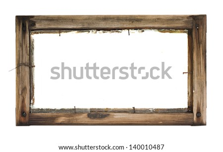 old wooden frame with nails on a white background - stock photo