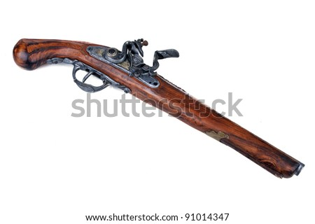 Old wooden gun isolated on white - stock photo