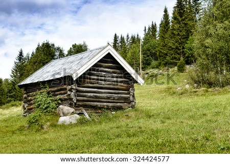Old wooden house in mountain - Norway. - stock photo