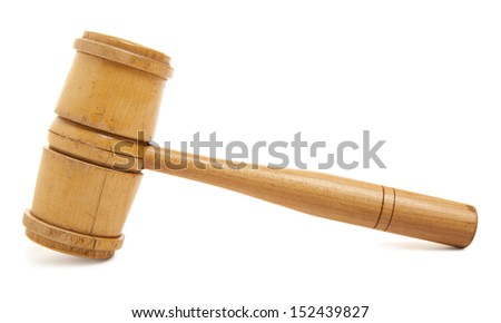 Old wooden judge's gavel isolated on white  - stock photo