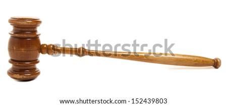 Old wooden judges gavel isolated on white  - stock photo