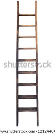 Old wooden ladder against the wall - stock photo