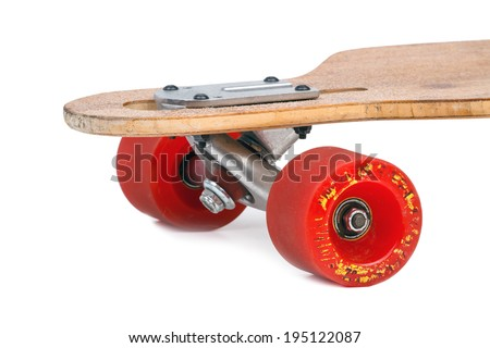 Old wooden longboard isolated on a white background - stock photo