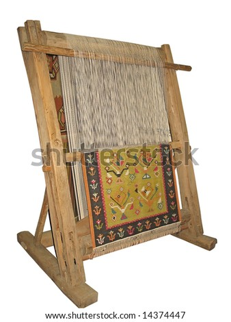 Old wooden loom isolated over white background - stock photo