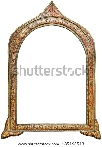 Old Wooden Moroccan Mirror Frame Isolated with Clipping Path - stock photo