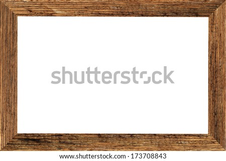 Old wooden of picture frame on white background,horizontal - stock photo