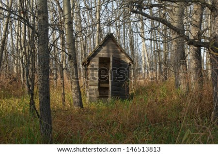 Old wooden outhouse in the woods - stock photo