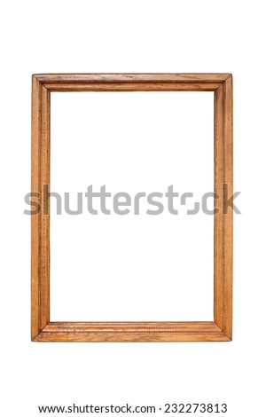 old wooden painting frame, isolation over white background - stock photo