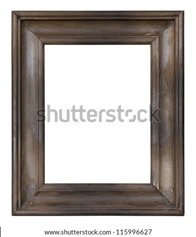 Old wooden picture frame with clipping path - stock photo