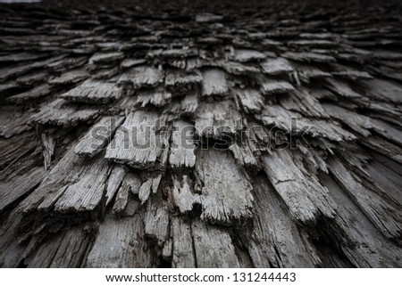 old wooden planks on roof - stock photo