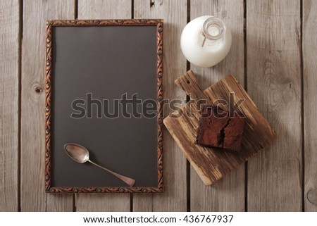 old wooden plaque for the recipe in a restaurant - stock photo