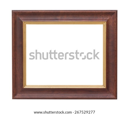 Old wooden plate frame isolated white background. - stock photo