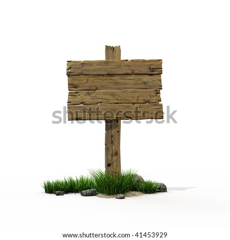 Old wooden post with a sign for the text - stock photo