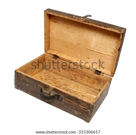 Old Wooden Retro Suitcase Isolated on White Background. - stock photo