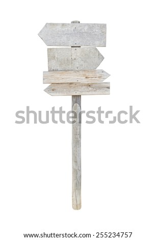 Old wooden road sign with two left and right arrows - stock photo