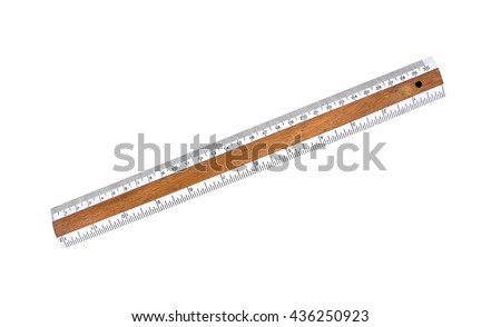 Old wooden ruler with white plastic tape isolated on white background.Wooden ruler  - stock photo