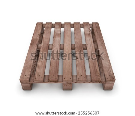 Old wooden shipping pallet isolated on white background. 3d illustration. - stock photo