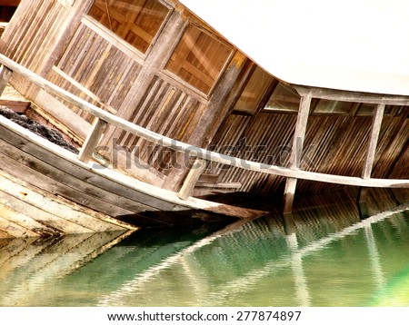 old wooden shipwreck  - stock photo