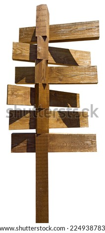 Old Wooden Sign Isolated on White / Wooden old brown crossroad sign isolated on white background - stock photo