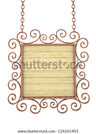 Old wooden sign on the chains. Isolated on white - stock photo