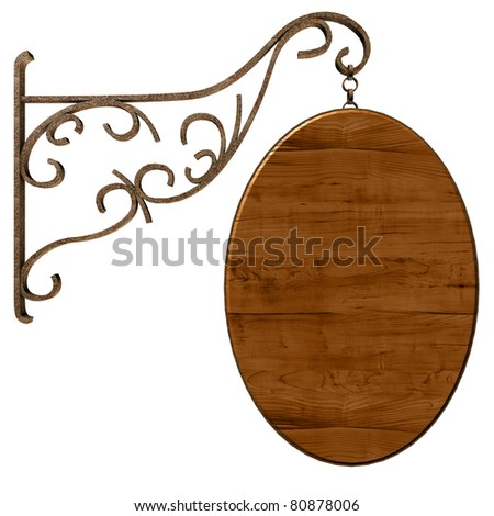Old wooden signboard. Isolated on white, with clipping path. - stock photo