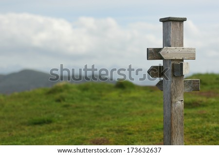 old wooden signpost in the nature - stock photo
