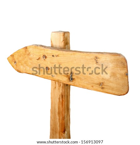 old wooden signpost isolated on white, wooden arrows road sign - stock photo